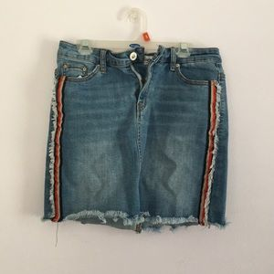 Jean skirt with side detailing